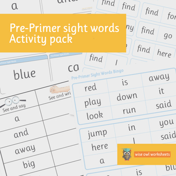 Pre-Primer Dolch Sight Words Activity Pack