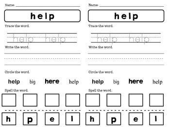 Pre-Primer Dolch Sight Words Booklet