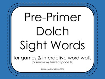 Pre-Primer Dolch Sight Words, Century Gothic {Blue} - for word walls and games