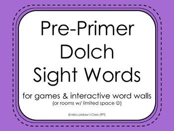 Pre-Primer Dolch Sight Words, Century Gothic {Purple} - for word walls and games