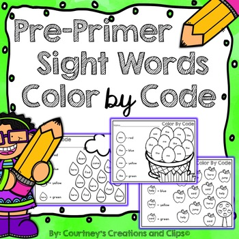 Pre-Primer Sight Words Color by Code Worksheets