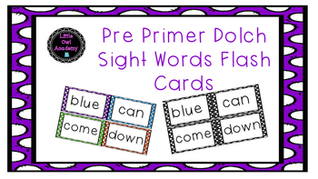Pre Primer Dolch Sight Words Flash Cards