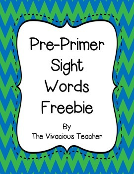 Pre-Primer Dolch Sight Words Freebie