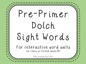 Pre-Primer Dolch Sight Words {Green} - for word walls and games