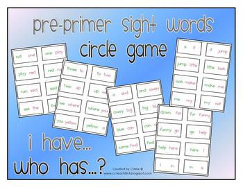 """Pre-Primer Dolch Sight Words """"I Have Who Has"""" Game"""