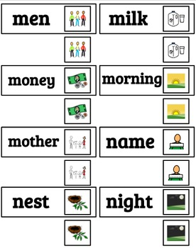 Pre-Primer Dolch Sight Words & Nouns (94)  Picture-Word Matching (SPED)