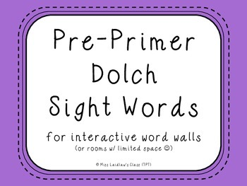 Pre-Primer Dolch Sight Words {Purple} - for word walls and games