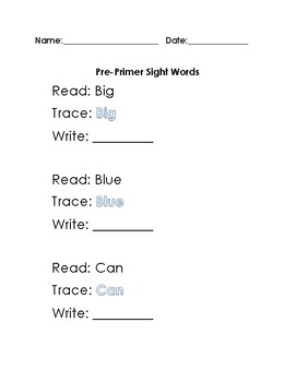 Pre-Primer Dolch Sight Words Read Trace Write Worksheets
