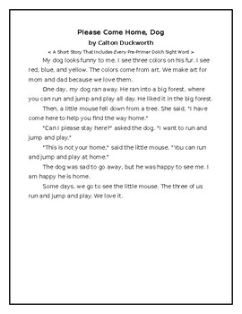 Pre-Primer Dolch Sight Words Short Story 1