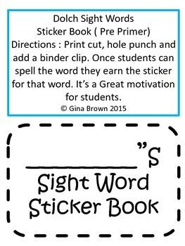 Pre Primer Dolch Sight Words Sticker Book