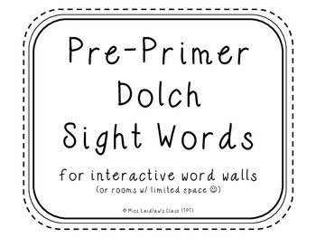 Pre-Primer Dolch Sight Words {White} - for word walls and games