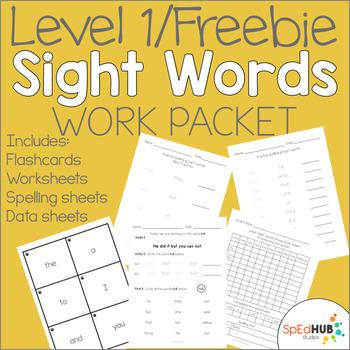 Level 1 Sight Words Work Packet {FREEBIE}