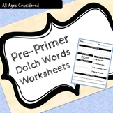 Pre Primer Dolch Sight Words Practice Worksheets