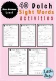 Pre-Primer Dolch Sight Words Worksheets Set