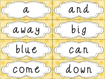 Pre-Primer Dolch Sight Words {Yellow Dots} - for word walls and games