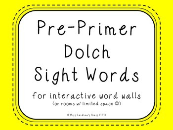 Pre-Primer Dolch Sight Words {Yellow (bright)} - for word