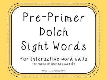 Pre-Primer Dolch Sight Words {Pale Yellow} - for word walls and games