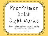 Pre-Primer Dolch Sight Words {Pale Yellow} - for word wall