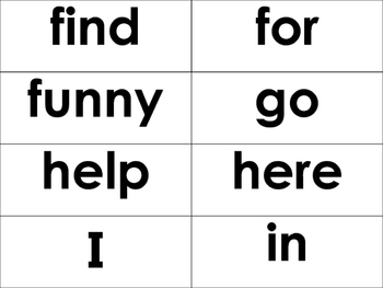 Pre Primer Dolch Sight Words -40 Words- flash cards, word wall