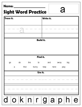 Pre Primer Dolch Sight Words worksheets by Amanda Suchy | TpT