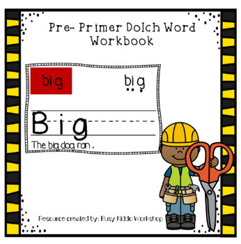 Pre Primer Dolch Sight Word Workbook