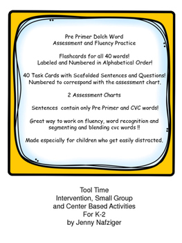 Pre Primer Dolch Sightword Flashcards and Scafolded Sentences