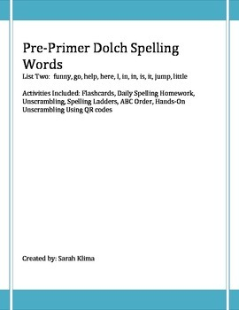 Pre-Primer Dolch Spelling Words