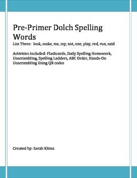 Pre-Primer Dolch Spelling Words: List 3