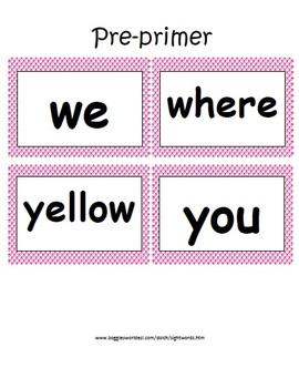 Pre Primer Dolch Word Card Set