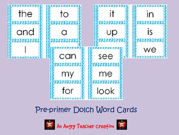 Pre-Primer Dolch Word Cards