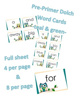 Pre-Primer Dolch Word Cards -Owls Teal & Green