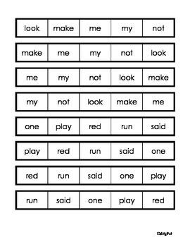 Pre-Primer Dolch Word Fluency Strips