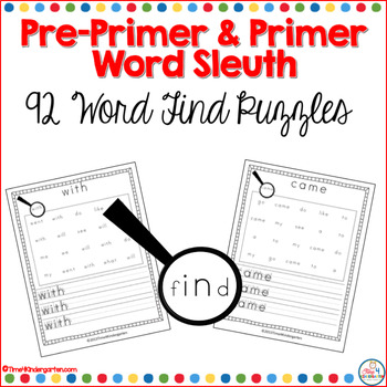 Pre-Primer and Primer Dolch Sight Word Sleuth for Kindergarten