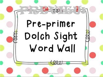 Pre Primer Dolch Word Wall