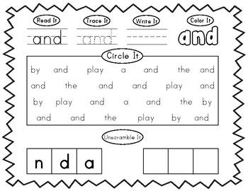 Pre-Primer Dolch Word Work