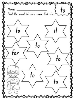 Pre-Primer Dolch Words Activity Sheets