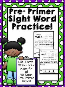 Pre-Primer Dolch Words Cut-Paste-Color Center