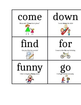 Pre-Primer Dolch Words Flash Cards with Sentences