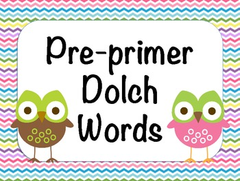 Pre-Primer Dolch Words - Owl Theme