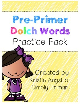 Pre-Primer Dolch Words Practice Pack