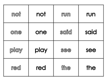 Pre-Primer Dolch Words - Sight Word Matching Game