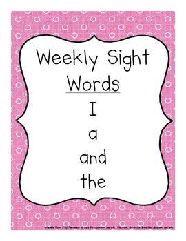 Pre-Primer Dolch Words Weekly Sight Word Activities