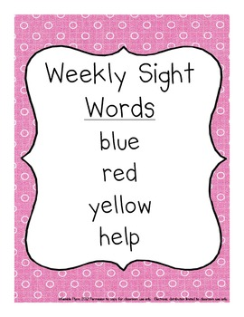Pre-Primer Dolch Words Weekly Sight Word Activities American Spellings