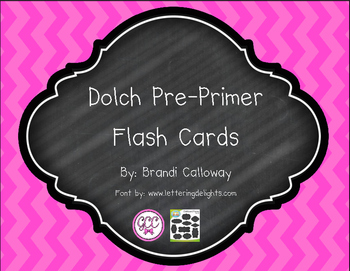 Pre-Primer Dolch Flash Cards