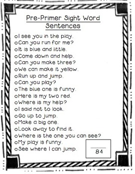 Pre-Primer Flash Cards and Sentence Cards