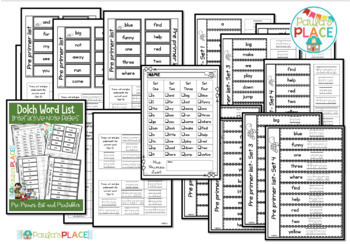 Pre-Primer Interactive Notebook Pages