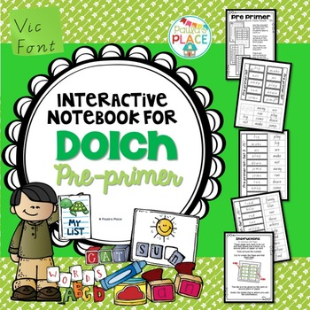 Pre Primer Interactive Notebook Pages Vic Font