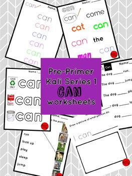 """Pre-Primer Kali Series 1 """"can"""" worksheets"""