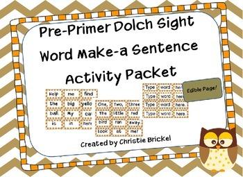 Pre-Primer Make-a-Sentence Packet