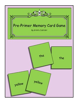 Pre-Primer Matching Card Game